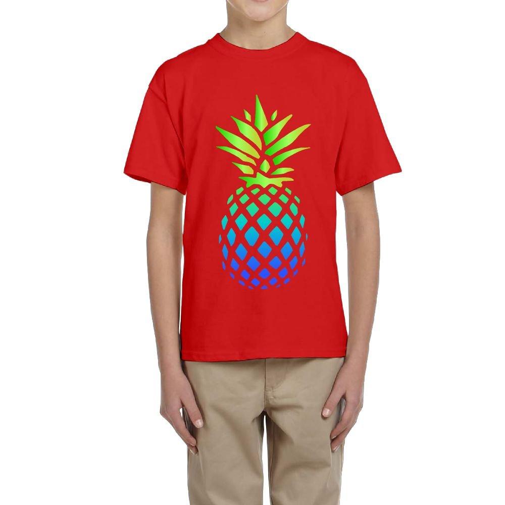 Fzjy Wnx Short-Sleeve Tee Youth Crew-Neck Green-Blue Pineapple for Boy