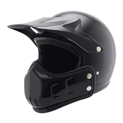 DLD Casco de la Motocicleta, Adulto Retro 3/4 Casco de la Moto de