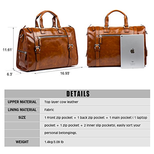 MANTOBRUCE Leather Briefcase Weekender Overnight Duffel Bag Gym Sports Luggage Bags for Men Women by MANTOBRUCE (Image #4)