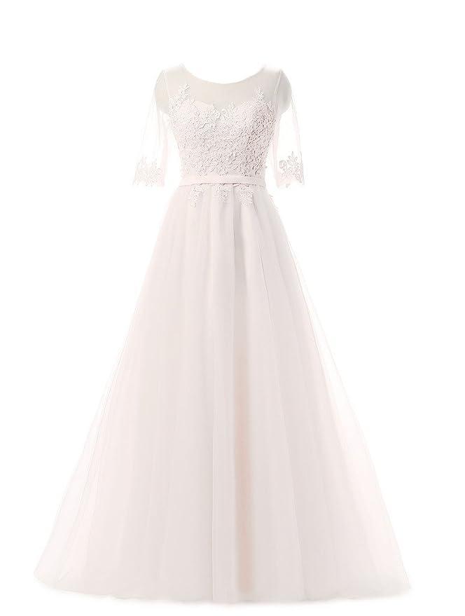 Eudolah elegante falda larga sin mangas y 3/4 manga con bordado vestidos de noche sin tirantes vestido de novia wedding party: Amazon.es: Ropa y accesorios