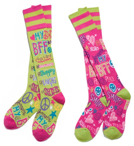 BFF Best Friends Forever Mix & Match Knee Socks (Mix Acrylic Funky Socks)