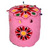 Cultural Round Pink Ottoman Cotton Floral Embroidered Pouf Cover By Rajrang