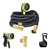 50ft Garden Hose- 2018 NEW Bronze Connector Expandable Water Hose with Double Latex Core, 3/4'' Solid Brass Fittings, 8 Setting Aluminum Spray Nozzle-Free Storage Sack and Hangger