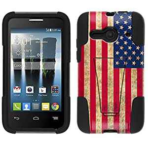 Alcatel One Touch Evolve 2 Hybrid Case Retro American Flag 2 Piece Style Silicone Case Cover with Stand for Alcatel One Touch Evolve 2