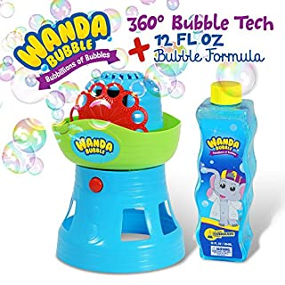 Gordon & Bond Bubble Machine by Wanda Bubble: 360 Degree Bubble Blower for Kids, Shoots Bubbles in All Directions, 100's Bubbles Per Minute Battery Operated – with Bubble Solution for Outdoor Parties