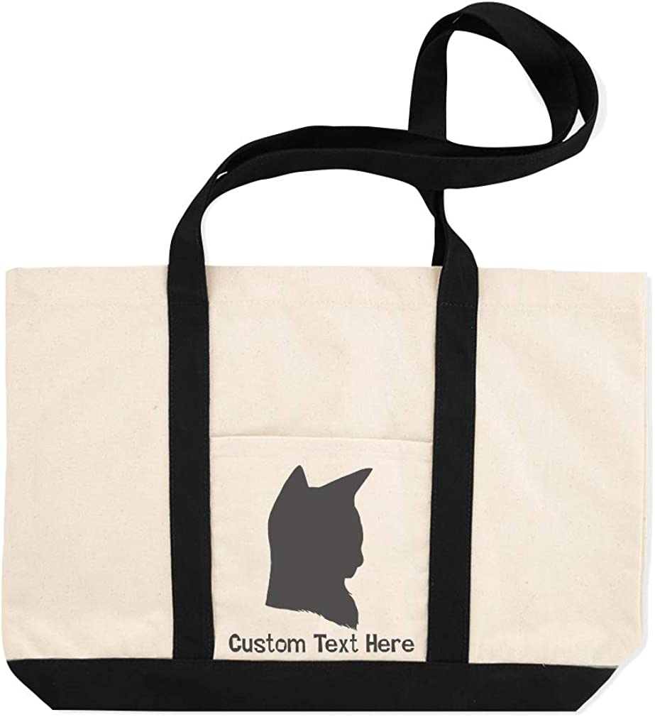 Canvas Shopping Tote Bag Calico Cat Head Silhouette Calico Cat Beach Bags for Women