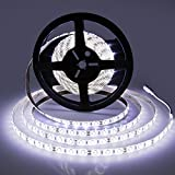 LEDMO Waterproof Flexible LED Light Strip,DC12V LED Strip Light,Super Bright 300Units SMD 5630 LEDs,Cool White 6000K,16.4Ft/5M