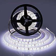 LEDMO Waterproof Flexible LED Light Strip,DC12V LED Strip Light,Super Bright 300Units SMD 5630 LEDs,Cool White 6000K,16.4Ft/5M.