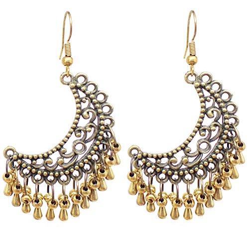 Bijoux De Ja Bronze and Brass Beads Moroccan Style Drop Dangling Earrings (Style Brass Beads)