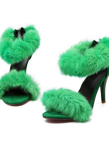 ShangYi Womens Shoes Fur / Leatherette Stiletto Heel Heels / Open Toe Sandals Party & Evening / Dress / Green / Pink / Gray gray