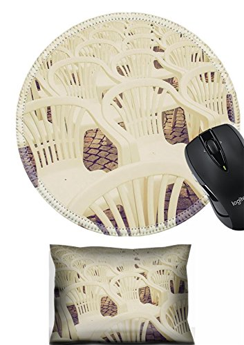 MSD Mouse Wrist Rest and Round Mousepad Set, 2pc Wrist Support design 27271707 Vintage looking Rows of chairs for outdoor dehors alfresco bar and live gig concert open air events -