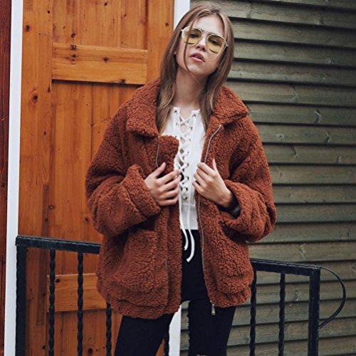 Fourrure OverDose Veste Oversize Femme Fausse Marron Blouson Outwear Hiver Parka Manteau EgTxqrEw6Y