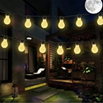 Solar Bulb Lights,VSOAIR 3.5M 10 LED Plastic Solar Bulbs String Lights Waterproof with 2 Modes Lighting for Outdoor, Garden, Christmas Decorations (Warm White)