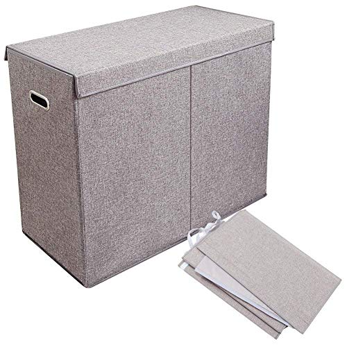 Foldable Laundry Hamper Lid Two Removable Bags,Handle Binocular Design Large Capacity Storage Basket Canvas Storage Bins (All Code, Gray)
