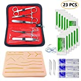 Suture Kit for Suture Practice Training, Latest Silicone Suture Pad with Durable Pre-Cut Wounds, 12 Suture Needle Threads, 5 Stainless Steel Tool for Education Simulation (23 pcs)