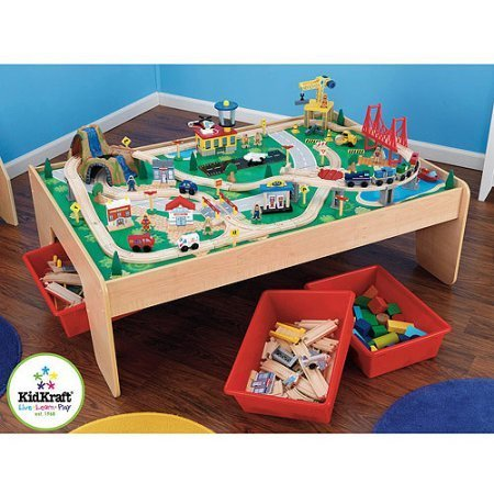 Features3 Durable red plastic bins that slide under the table for effortless storage,KidKraft Wooden Train Table and 120-Piece Waterfall Mountain Train Set with 3 Bins (Kidkraft Wooden Waterfall Mountain Train Table And Set)
