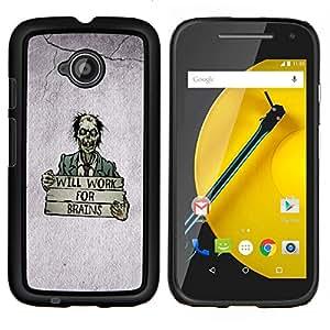 KLONGSHOP // Cubierta de piel con cierre a presión Shell trasero duro de goma Protección Caso - Zombie Cita Cerebro divertido del dibujo del arte de la historieta - Motorola Moto E2 E2nd Gen //