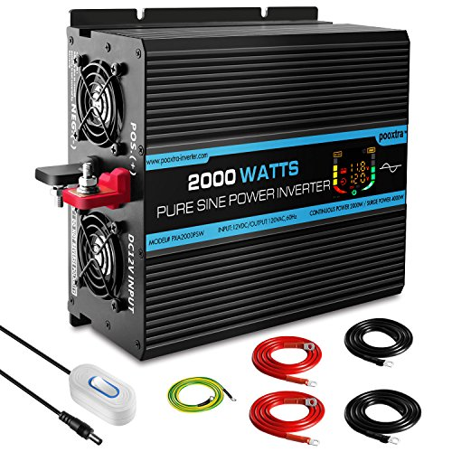 Pooxtra 2000W Pure Sine Wave Power Inverter 4 AC Receptacles Dual USB Ports 12V DC to 110V 120V AC Car Inverter with Remote Control and LED Display (Surge 4000Watts)