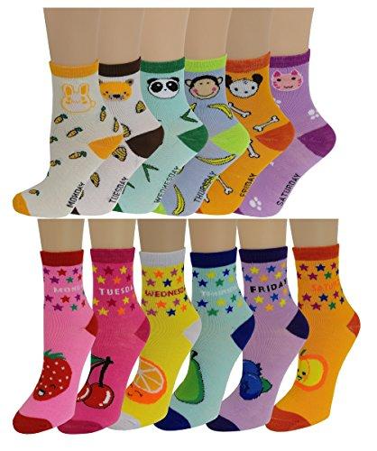 (12 Pairs Pack Kids Girls Colorful Creative Fun Novelty Design Crew Socks (6-8, Days))