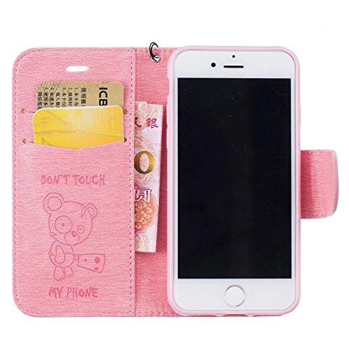 Für Apple iPhone 7 (4.7 Zoll) Tasche ZeWoo® Ledertasche Kunstleder Brieftasche Hülle PU Leder Schutzhülle Case Cover - BF067 / Rosa Bär