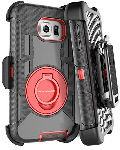 S6 Edge Case, Galaxy S6 Edge Case, BENTOBEN Shockproof Heavy Duty Protection Hybrid Rugged Rubber Case Built-in Rotating Kickstand Belt Swivel Clip Holster Cover for Galaxy S6 Edge (Black/Red)