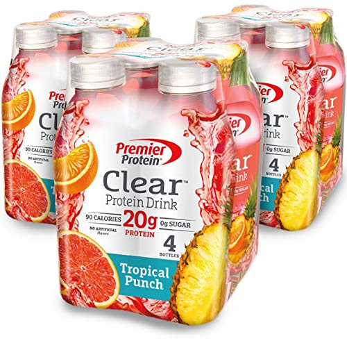 Premier Protein Clear Protein Drink, Tropical Punch, 16.9 fl oz Bottle, (12 Count) (Best Protein Drinks For Bariatric Patients)