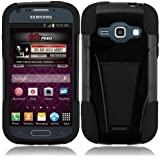 For Samsung©Galaxy Prevail 2 II M840 Black/Black T-Stand Impact Hybrid Fusion Kickstand Double Layer Cover Case