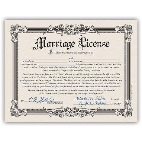 Novelty Funny Marriage License Bachelorette Bachelor Party Gag Gift - Certificate Fake Gift