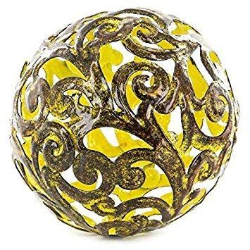 Yellow Fancy Metal Decorative Sphere (Yellow Bowl Decorative)