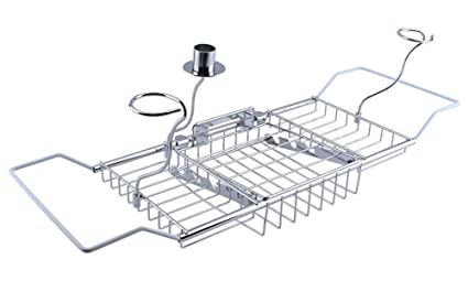 Ordinaire Yontree Bathtub Tray Caddy Stainless Steel Expandable With Bathroom Wine  Glass Racks Reading Holder (24