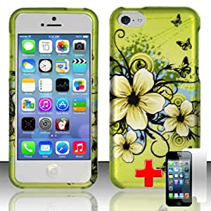 Apple iPhone 5C/Lite - 2 Piece Snap On Rubberized Hard Plastic Image Case Cover, White Peach Blossom Blue/Black Swirls Green Cover + LCD Clear Screen Saver Protector