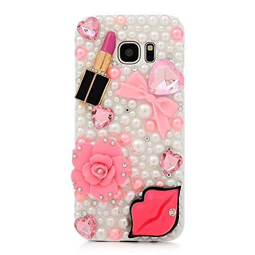 STENES Galaxy J3 Emerge Case - 3D Handmade Luxury Crystal Sexy Lips Rose Flowers Girls Lipstick Sparkle Rhinestone Design Cover Bling Case for Samsung Galaxy J3 Emerge Retro Anti Dust ()