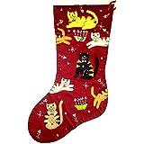 18 Inch Crazy Cat Lover Christmas Holiday Stocking Felt Applique Handmade