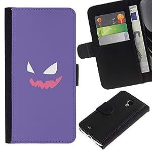 LECELL--Cuero de la tarjeta la carpeta del tirón Smartphone Slots Protección Holder For Samsung Galaxy S4 Mini i9190 -- Cara púrpura P0kemon --