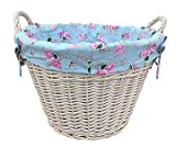 White Wash Wash Log Basket/Laundry with Cottage Rose Lining by Fine Gifts UK Review