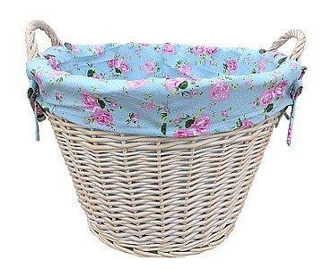 White Wash Wash Log Basket/Laundry with Cottage Rose Lining by Fine Gifts UK ()