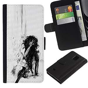 La depresión profunda Emo Negro- la tarjeta de Crédito Slots PU Funda de cuero Monedero caso cubierta de piel Para Samsung Galaxy S5 Mini (Not S5), SM-G800