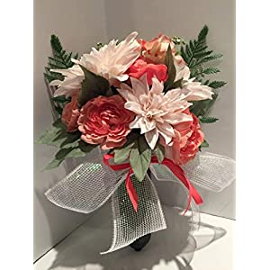 GRAVE DECOR - CREAM/SALMON MIXED DAHLIA, ROSE, RANUNCULUS - CEMETERY MARKER - FUNERAL ARRANGEMENT - MEMORIAL - FLOWER VASE - MEMORIAL DAY - VETERANS DAY - SENTIMENTAL 54