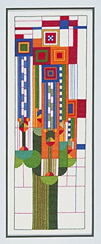 Frank Lloyd Wright Stained Glass Pattern (Frank Lloyd Wright Saguaro Forms and Cactus Flowers Window Stained Glass Cross Stitch Design Pattern by Heartland House Designs – Embroidery Counted Cross Stitch. #194 PATTERN)