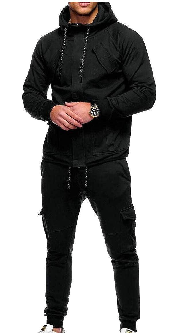 0928bcb6 Black LKCEN-CA Men's Hooded Sweatshirt Sweatshirt Sweatshirt Jacket+ ...