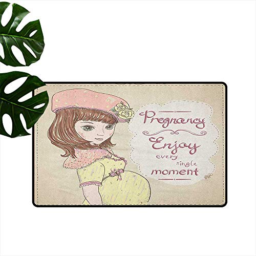 (RenteriaDecor Quotes,Christmas Doormat Pregnancy Enjoy Every Single Moment Clipart Pregnant Woman Dress Hat 31