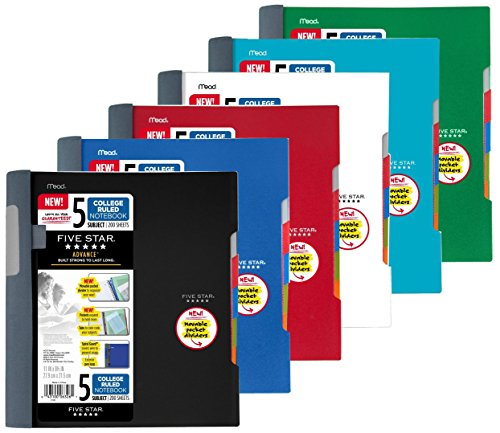 Five Star Advance Spiral Notebook-Standard Size, 5 Subject, College Ruled, 8.5 x 11 Inch Sheet Size, Assorted Colors, 6 Pack -