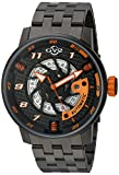GV2 Motorcycle Sport Mens Swiss Automatic Black Stainless Steel Bracelet Watch, (Model: 1304B)