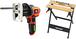 BLACK+DECKER Jig Saw, Cordless, Compact with Workmate Portable Workbench, 350-Pound Capacity (LPS7000 & WM125)