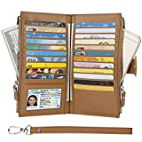Wallet for Women- Womens RFID Blocking Genuine Leather Bifold Multi Card Case Wallet with Zipper Pockets(Brown)
