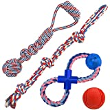 Jekeno Dog Rope Toys Anti-bite Knot Rope Rubber Ball for Aggressive Chewers for Large Dog