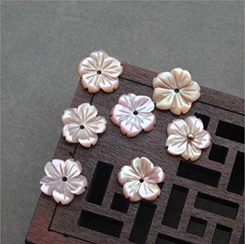 Calvas Natural Mother of Pearl Pink White Carved Flower Shell Charms Beads for DIY Jewelry Making Fashion Earrings Brooch Accessories - (Color: Pink, Item Diameter: 15mm) ()