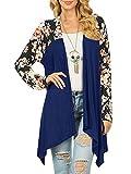 JOYCHEER Womens Open Front Draped Long Sleeve Fall Floral Lightweight Casual Cardigans