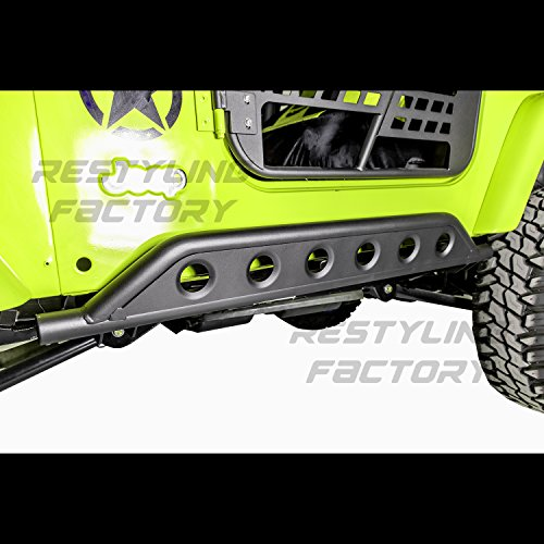 Restyling Factory Rock Crawler Body Side Armor Rocker Guard Rock Sliders Guard 1 Pair (Black) For 97-06 Jeep Wrangler TJ