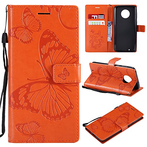 (ARSUE Moto G6 Case,Moto G6 Wallet Case,Leather Folio Flip PU Card Holder Slots with Kickstand Phone Protective Case Cover for Motorola Moto G6/Moto G (6th Generation) 5.7 Inch,Butterfly Orange)